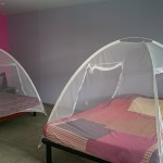 Les lits avec les moustiquaires